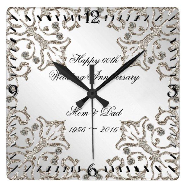 Glitter 60th Diamond Wedding Anniversary Clock