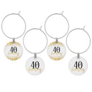 Gold 40 & Fabulous Birthday Confetti Wine Charms