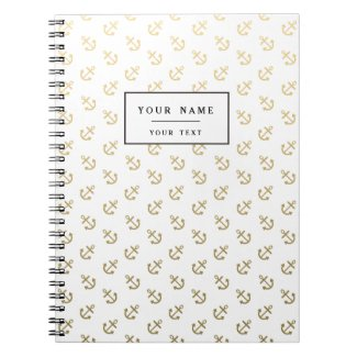 Gold Anchors White Background Pattern Notebook