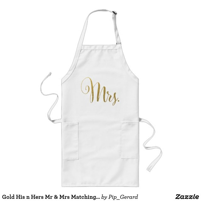 Gold Foil His n Hers Mr & Mrs Matching Aprons