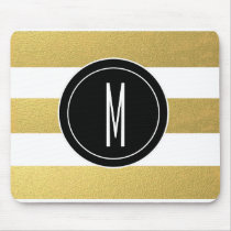 GOLD FOIL STRIPES | BLACK MONOGRAM MOUSE PAD