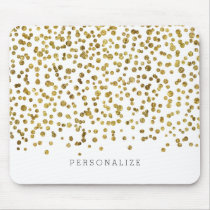 Gold Glam Confetti Mouse Pad