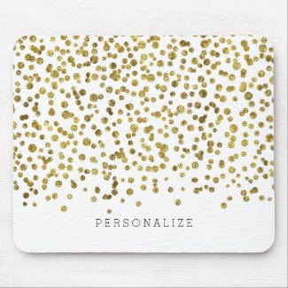 Gold Glam Confetti Mouse Mat