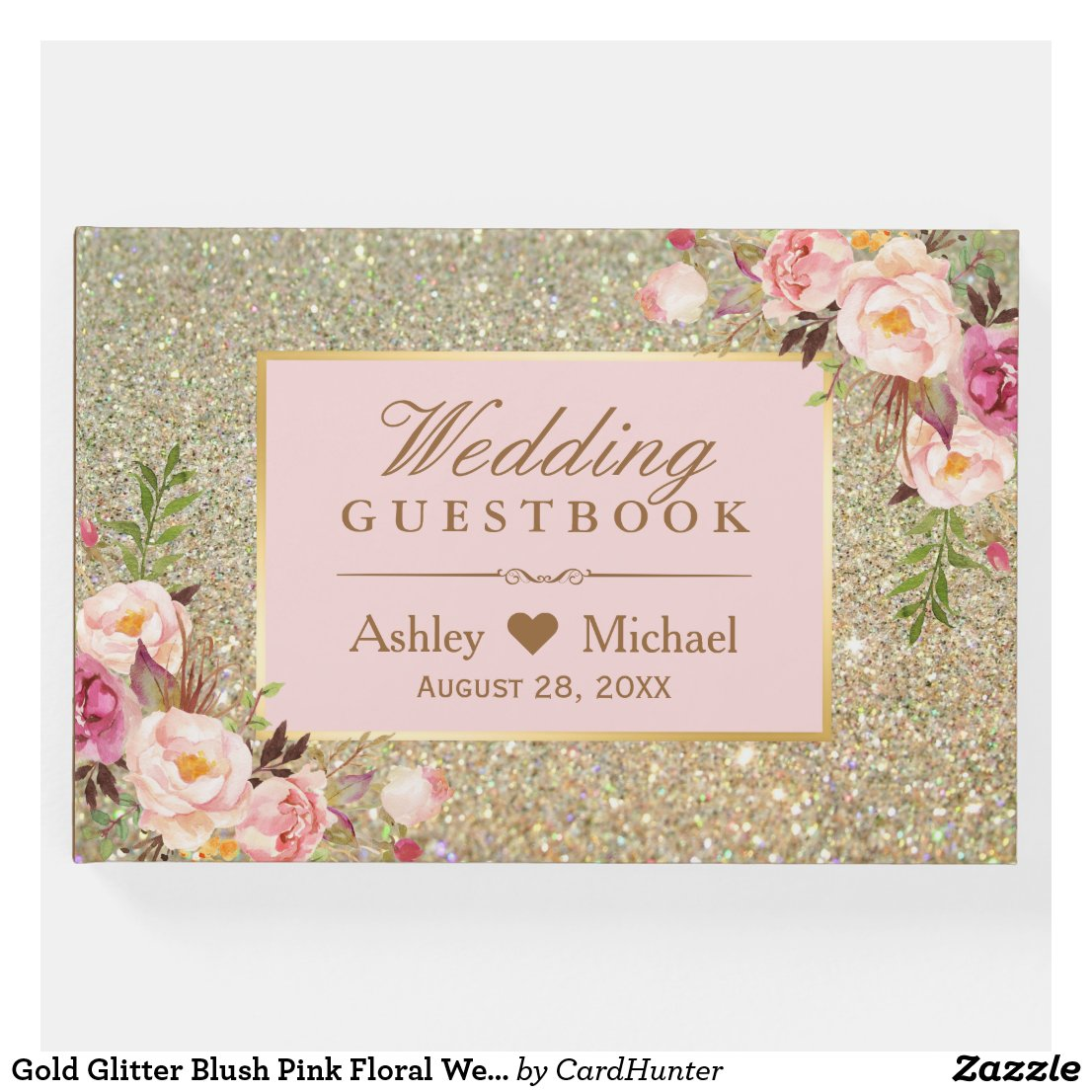 Gold Glitter Blush Pink Floral Wedding Guest Book