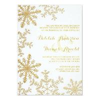 Gold Glitter Snowflakes Elegant Winter Wedding 5x7 Paper Invitation Card