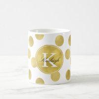 Gold Glitz Dots Monogram Coffee Mug