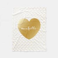 Gold Heart Dots Pattern Custom Monogram Fleece Blanket