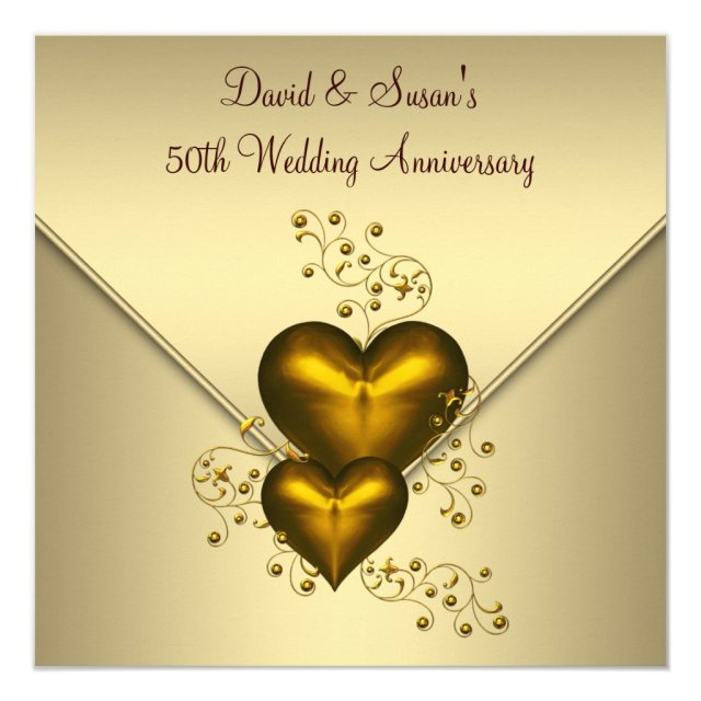 Gold Hearts Elegant Gold 50th Wedding Anniversary