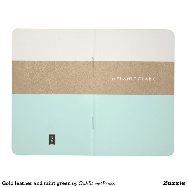 Gold leather and mint green journal
