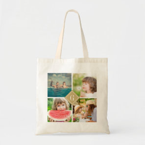 Gold Monogram Instagram Photo Collage Tote Bag