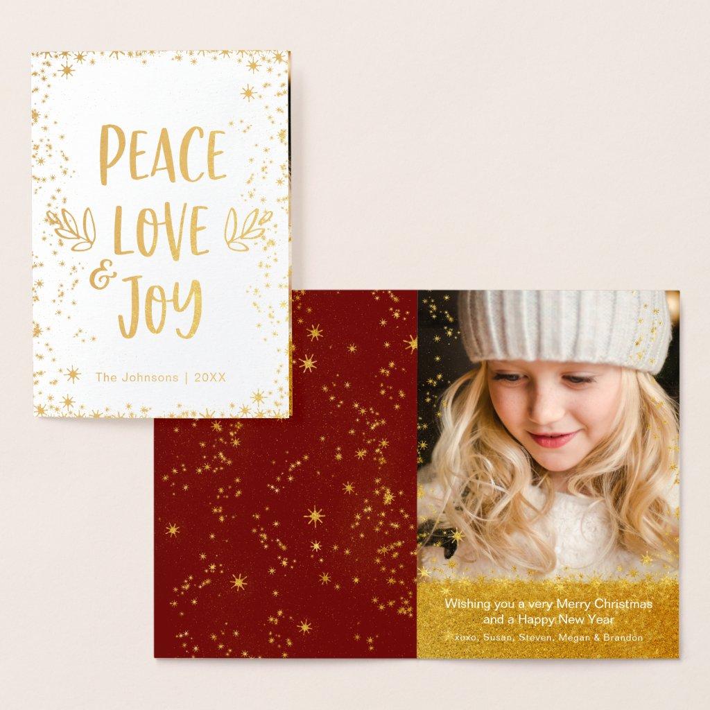 "Gold Stars ""Peace Love Joy"" Quote Editable Photo Foil Card"
