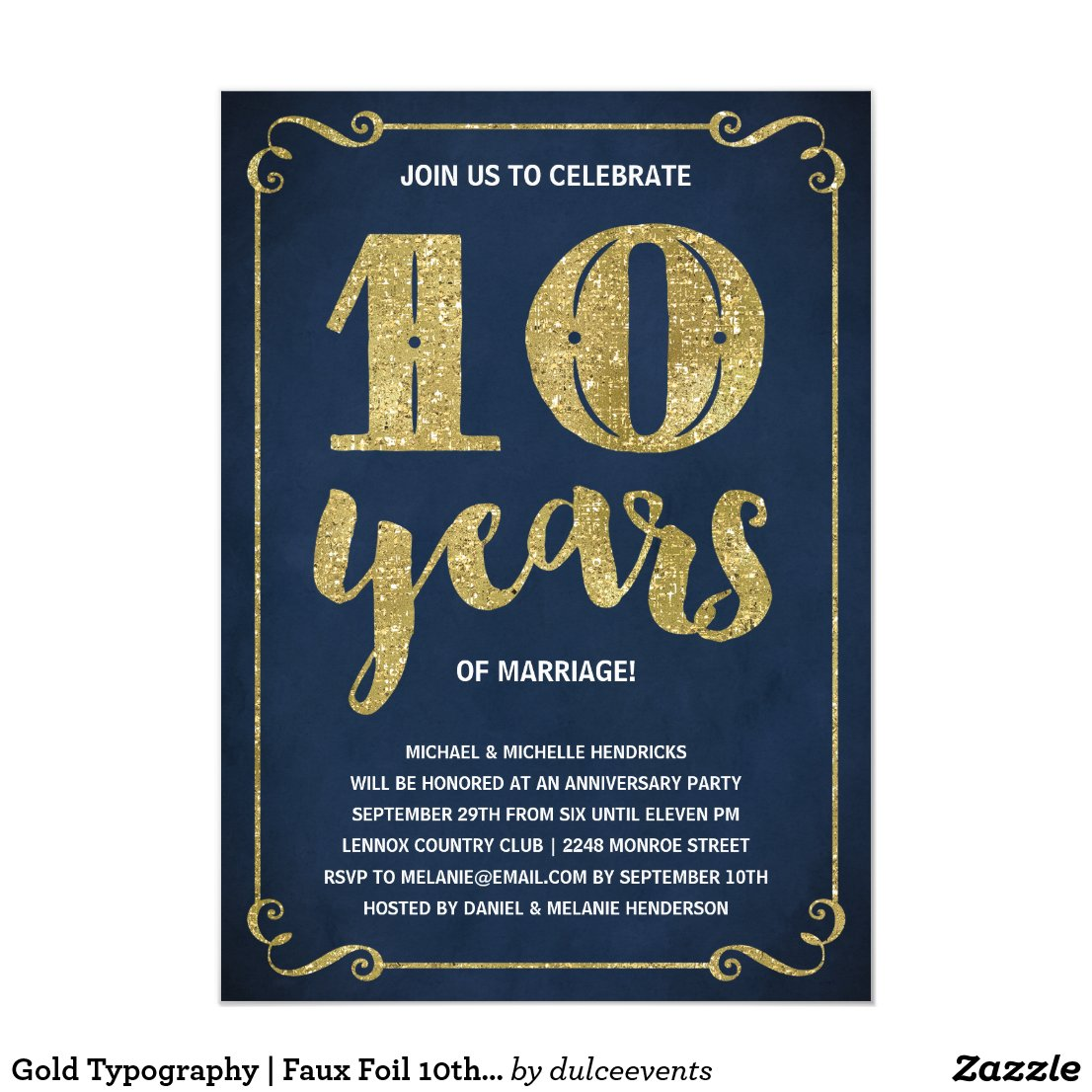 Gold 10th Anniversary Card