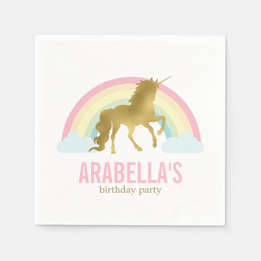 Gold Unicorn Girls Birthday Party Paper Napkin