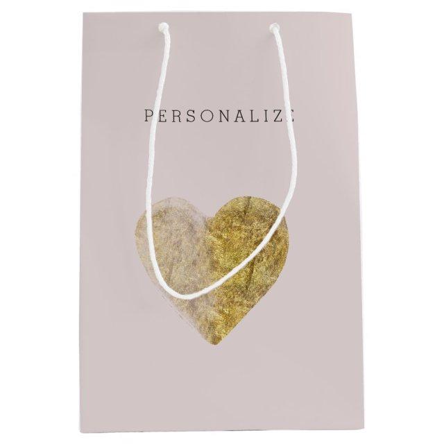 Gold Watercolor Heart Gift Bag