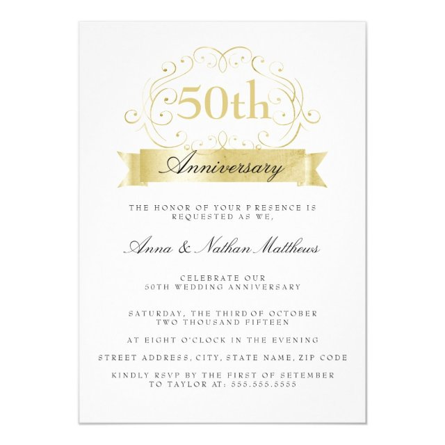 Gold Wedding 50th Anniversary Invitations