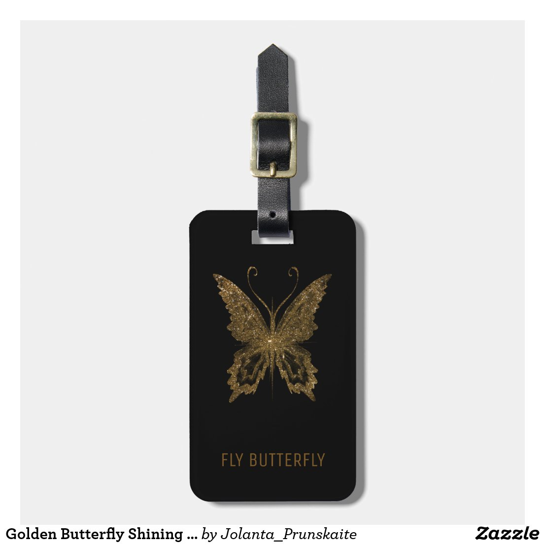 Golden Butterfly Shining Design Black Luggage Tag