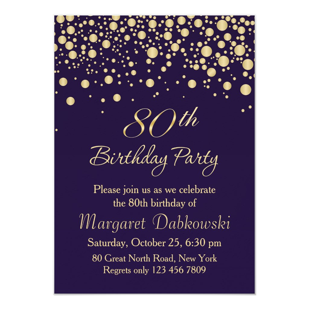 80th Birthday Invitations | Personalised Party Invitations
