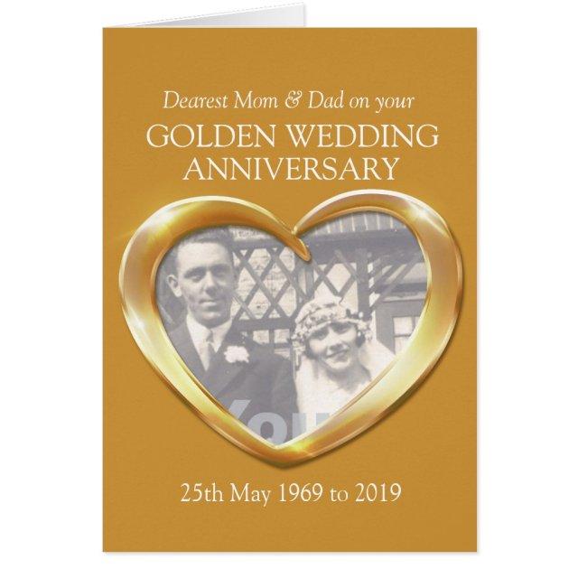 Golden wedding anniversary photo mum & dad card