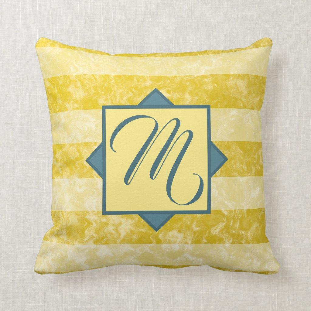 Goldenrod Yellow and White Striped Custom Monogram Cushion