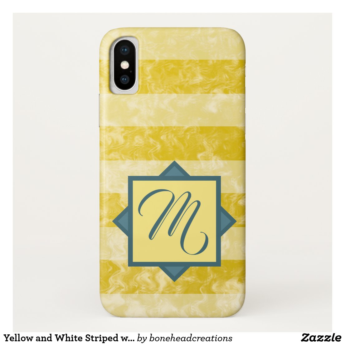 Goldenrod Yellow and White Stripes Custom Monogram iPhone XS Case