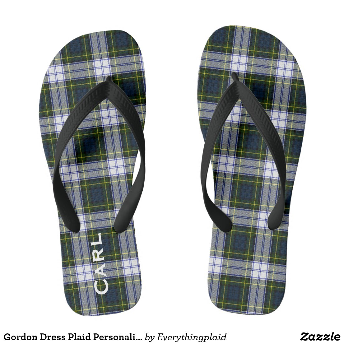 Gordon Dress Plaid Personalised Flip Flops