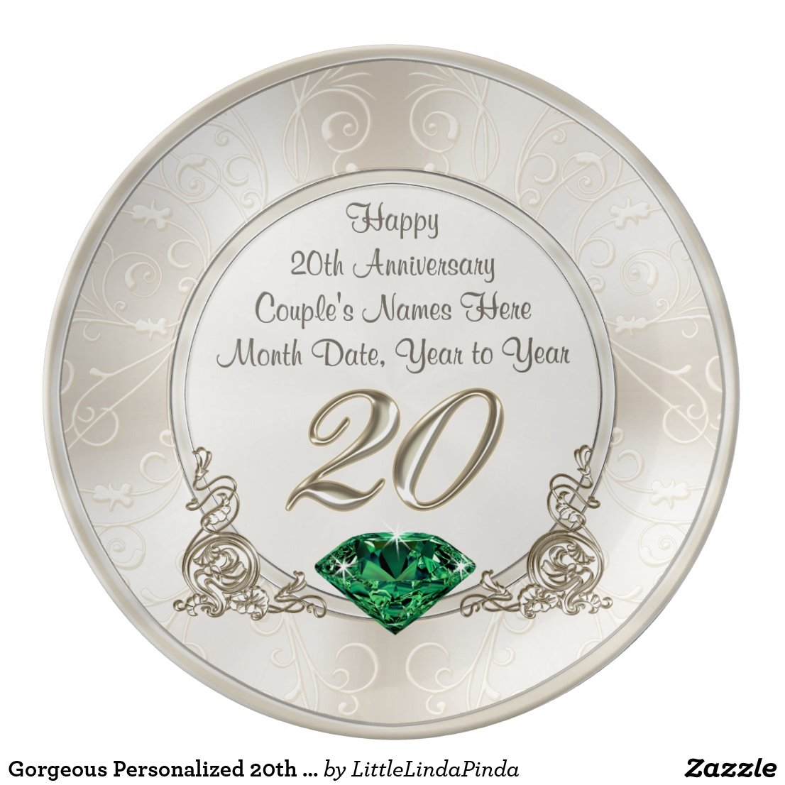 Personalised 20th Anniversary Plate