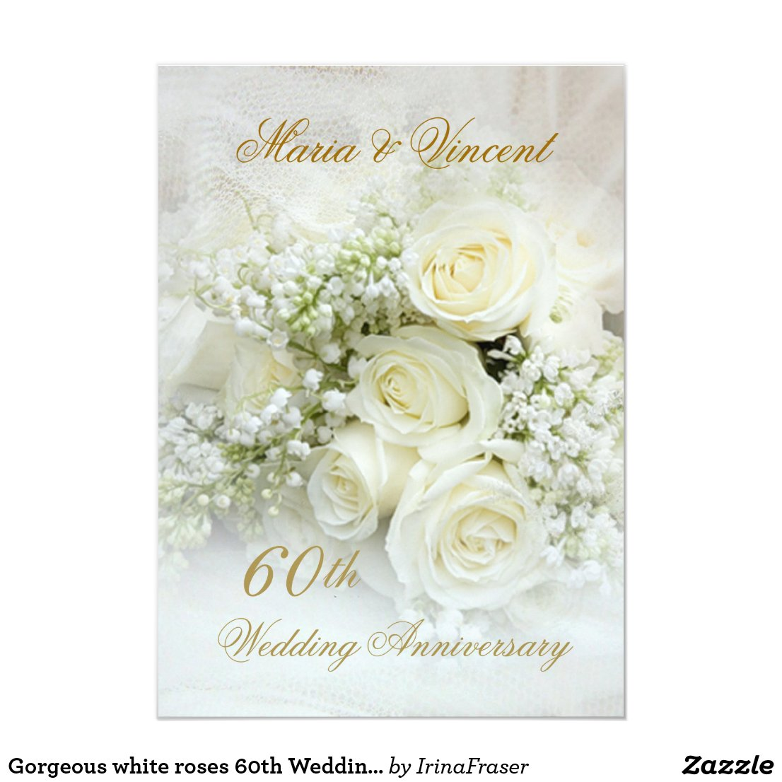 Gorgeous white roses 60th Wedding Anniversary Card