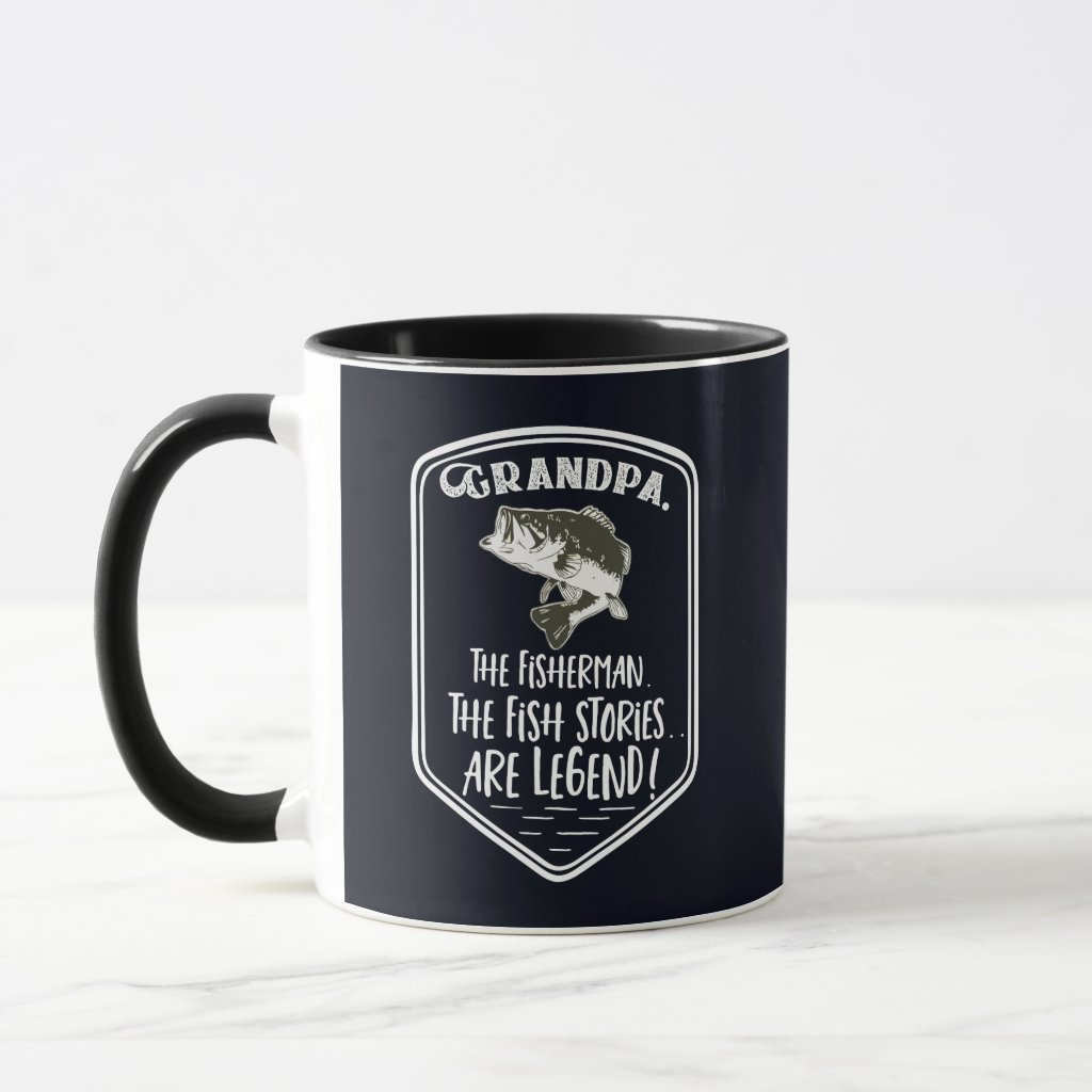 Grandpa The Fisherman The Bass Fishing Legend Mug