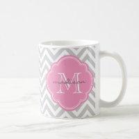 Gray and Pink Chevron Custom Monogram Coffee Mug