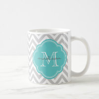 Gray and Turquoise Chevron Custom Monogram Coffee Mug