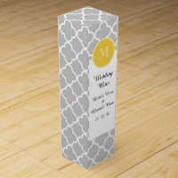 Gray Quatrefoil Pattern, Yellow Monogram Wine Boxes