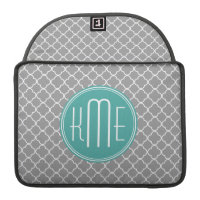 Gray Quatrefoil with Custom Mint Monogram MacBook Pro Sleeves