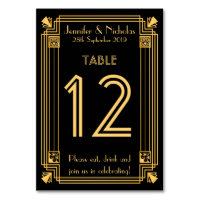 Great Gatsby 1920s Art Deco Wedding Table Number Card