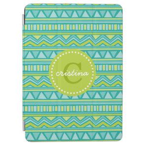 Green and Turquoise Aztec Chevron Custom Monogram iPad Air Cover