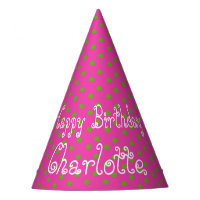 Green Apple Polka Dot on Diva Pink Personalized Party Hat