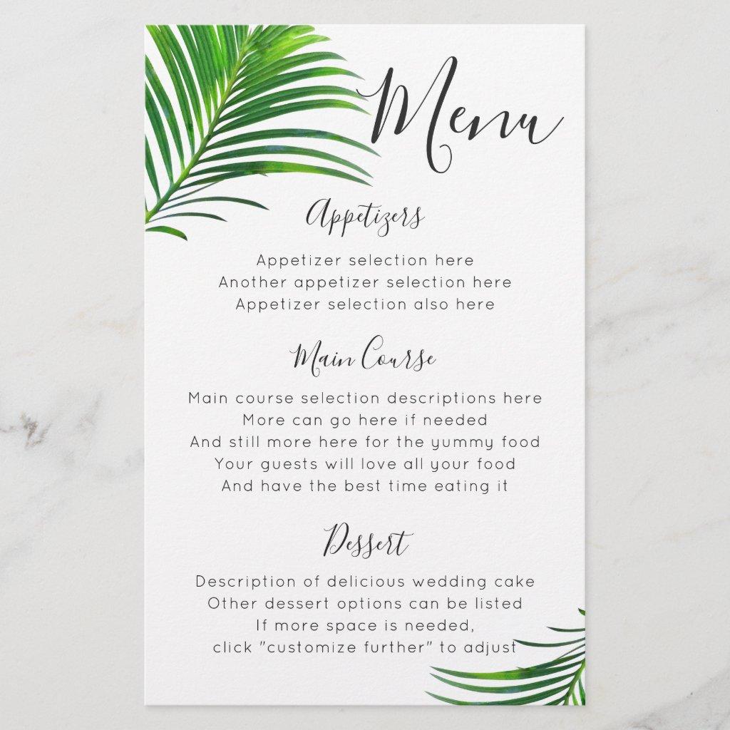 Green Palm Tree Beach Wedding Reception Menu