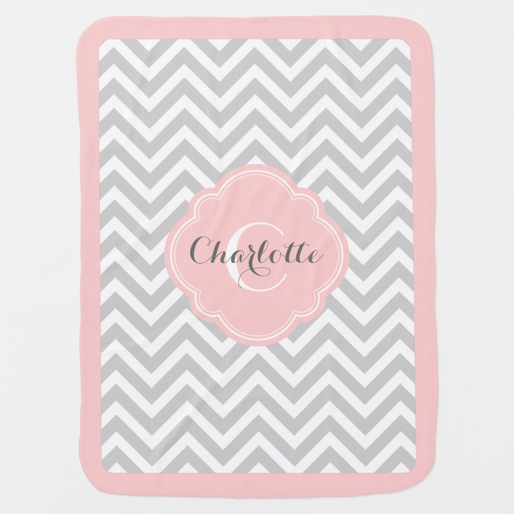 Grey and Pink Chevron Blanket