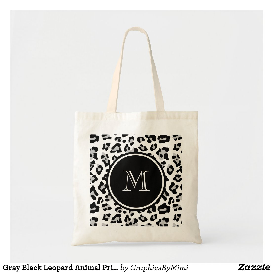 Grey Black Leopard Animal Print with Monogram Tote Bag