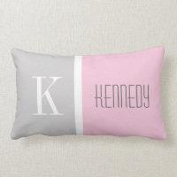 Grey Pastel Pink Monogram Pillow