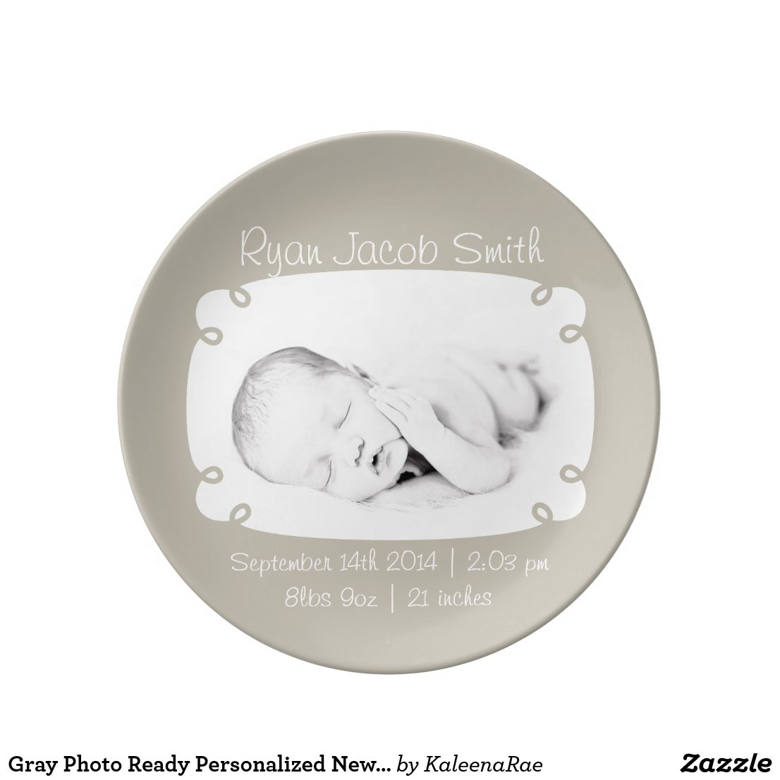 Photo Personalised Newborn Keepsake Plate