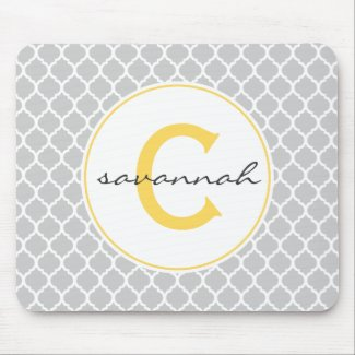 Grey Quatrefoil Monogram Mouse Pad