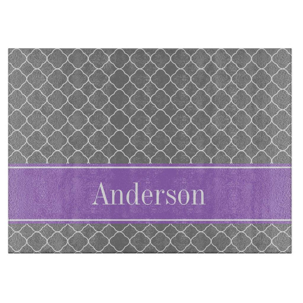 Grey Quatrefoil Purple Personalised Cutting Board