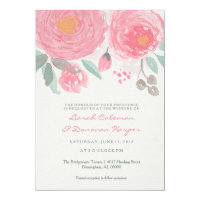 Hand painted watercolor floral wedding invitation