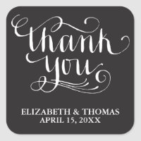 HANDWRITTEN SCRIPT WEDDING THANK YOU STICKERS