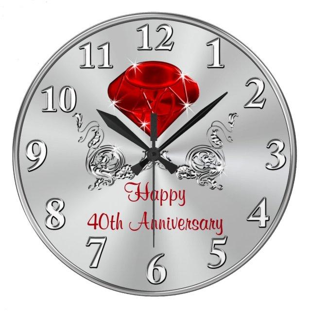Happy 40th Wedding Anniversary Clock