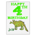 Happy 4th birthday cartoon dinosaur - boys