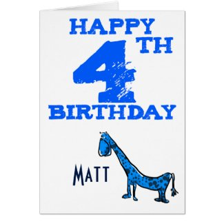 Happy 4th birthday cartoon dinosaur - boys