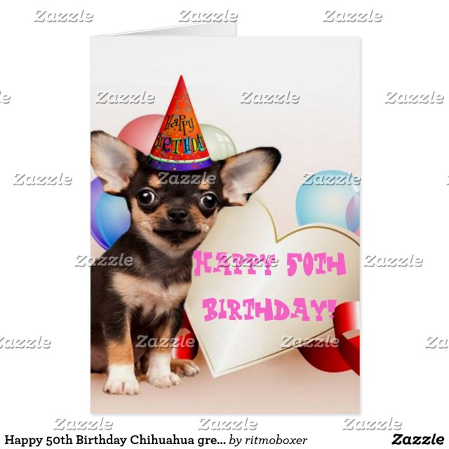 Happy 50th Birthday Chihuahua greeting card