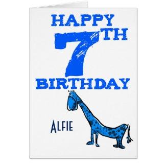Happy 7th birthday cartoon dinosaur - boy