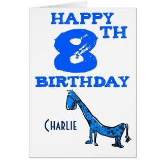 Happy 8th birthday cartoon dinosaur - boys